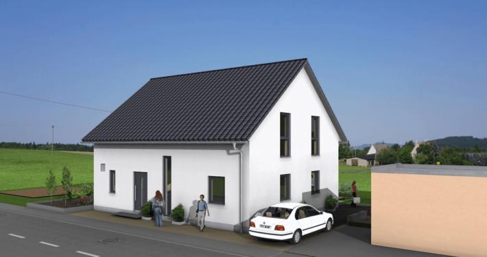 mainHAUS - Häuser: Jungfamilienwohnhaus 3D-Ansicht